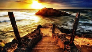 Artwork Nature Sea Sunset Sunlight Rock Coast Steps Waves 3000x1680 Wallpaper