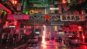 Neon Neon Lights Night Urban Cityscape City Street Futuristic Cyberpunk Cyber Science Fiction 3840x2160 Wallpaper