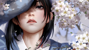 Women Original Characters Brunette Looking At Viewer Parted Lips Flowers Cherry Blossom Portrait Dis 1500x2000 Wallpaper
