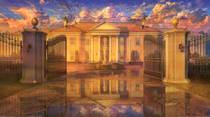 Arseniy Chebynkin Digital Art Mansion Fountain Statue Microsoft Windows Gates Reflection Clouds 1920x1080 Wallpaper