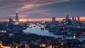River England Thames Night Tower Bridge City Sunset Building Skyscraper Cityscape 7319x4885 wallpaper