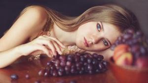 Oxana Vedmedenko Women Brunette Blue Eyes Resting Head Fruit Grapes Depth Of Field Portrait 1920x1440 Wallpaper