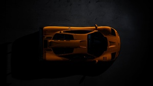 McLaren Car Supercars High Angle Vehicle Orange Cars McLaren F1 LM Top View Low Light 2048x1365 Wallpaper