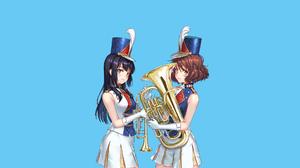 Hibike Euphonium Kousaka Reina Oumae Kumiko Anime Anime Girls Band Blue Background Black Hair Brunet 1920x1200 wallpaper