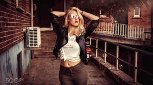Women Blonde Hips Women Outdoors Standing Leather Jackets Red Lipstick Women With Shades Hands In Ha 2000x1333 Wallpaper