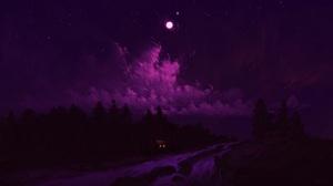 Digital Painting Landscape Night Clouds Moon Forest River Artwork BisBiswas 1920x1080 Wallpaper