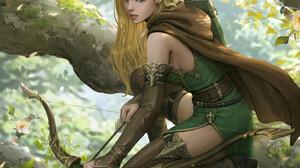 Sanghyun Kam Artwork ArtStation Fantasy Art Fantasy Girl Archer Blonde Pointy Ears Long Hair Bow Wea 1920x2567 Wallpaper