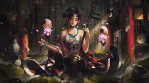Huyy Nguyen Artwork Musical Instrument Women Young Woman Digital Art Fan Art Digital Painting ArtSta 3840x2304 Wallpaper