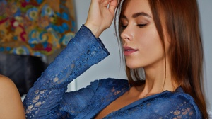 Model Women Brunette Closed Eyes Mouth Lips Lipstick Blouse Blue Shirt Legs Touching Hair Closeup Po 4360x2820 Wallpaper