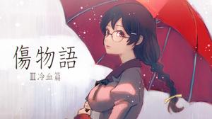 Monogatari Series Anime Girls Hanekawa Tsubasa 2D Long Hair Black Hair Braided Hair Rain Red Umbrell 1500x1000 Wallpaper