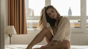 Women Model Brunette Legs Feet Barefoot Hips Sitting In Bed 4928x3280 Wallpaper