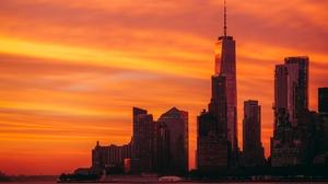 Night City Building Skyscraper Sunrise 1920x1080 wallpaper