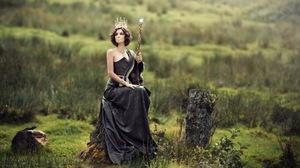 Black Dress Brunette Crown Depth Of Field Girl Lipstick Model Short Hair Staff Woman 1920x1302 Wallpaper