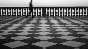 Photography Monochrome Motion Blur Fence Men Long Exposure Checkered Simple Pattern 1800x1349 Wallpaper