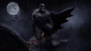 Batman Dc Comics Moon Night Rain 3840x2458 Wallpaper