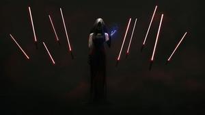 Lightsaber Woman 9168x4495 Wallpaper