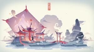 Jun Zhang Asian Architecture White Background Ghosts Spirit Digital Art River 1920x1008 Wallpaper