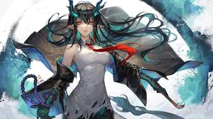 Anime Anime Girls Arknights Dusk Arknights Horns Red Eyes Pointy Ears Tail Dark Hair Dress Spade M 2657x1800 Wallpaper