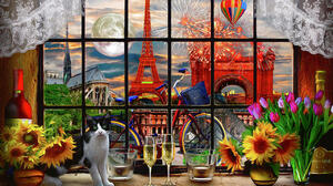 Paris Flowers Window Sill Painting Cats Arc De Triomphe Eiffel Tower Moon Colorful Sunflowers Drinki 1280x852 Wallpaper