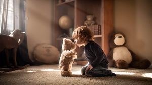 Boy Child Little Boy Stuffed Animal Sunbeam Teddy Bear 2048x1253 Wallpaper