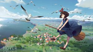 Kikis Delivery Service Kiki Kikis Delivery Service Anime Anime Girls Seagulls Witch Broom Dress 1920x1177 Wallpaper