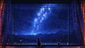 Elizabeth Miloecute Digital Art Starry Night Window Cats Clouds Rain 1920x1112 Wallpaper