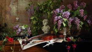 Flower Violin Instrument Sheet Music Fuchsia Feather Pocket Watch Vase Bust 1920x1129 Wallpaper