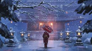 Anime Anime Girls Umbrella Snow Artwork 2D Temple 2048x1365 Wallpaper