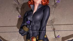 Black Widow S H I E L D Women Redhead Gray Eyes Black Clothes Black Clothing Bow Arrows Artwork Fan  1375x2088 Wallpaper
