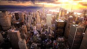 Building City Manhattan New York Skyscraper Sunset Usa 1920x1200 Wallpaper