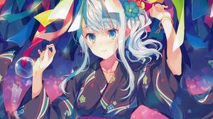 Aqua Eyes Aqua Hair Colorful Girl Kimono 4199x3000 Wallpaper