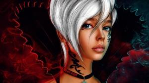 MiniDem Women Fantasy Girl White Hair Blue Eyes Choker Bare Shoulders Tattoo Dark Fantasy Art Digita 1920x1281 Wallpaper