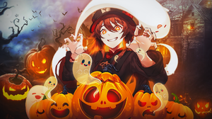 Halloween Hu Tao Genshin Impact Spooky Genshin Impact 1920x1080 Wallpaper