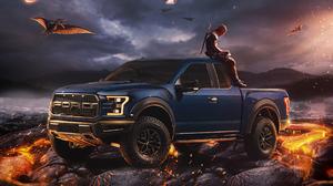 F 150 Raptor Ford Deadpool Dinosaurs Volcano Lava Pterodactyl Katana 4x4 3508x2480 Wallpaper