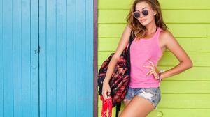 Girl Woman Sunglasses Shorts Brunette 5616x3744 Wallpaper