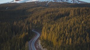 Landscape Nature Mountains Snowy Mountain Forest Road Portrait Display Outdoors 1638x2048 Wallpaper