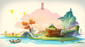 Jun Zhang Asian Architecture White Background Fisherman Scarecrows Frog Bath Cherry Blossom River 1920x1008 Wallpaper