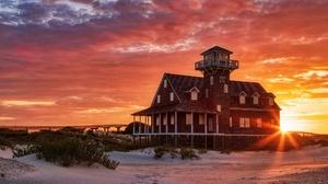 Beach Cloud House Lighthouse Sand Sunbeam Sunset 2048x1365 Wallpaper