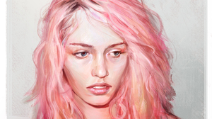 Blue Eyes Face Girl Painting Pink Hair Woman 2551x1773 wallpaper