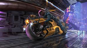 Cyberpunk Futuristic Motorcycle Vehicle 2400x1496 Wallpaper