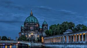 Berlin Berlin Cathedral Bridge City Dome Dusk Night River Twilight 2048x1405 wallpaper