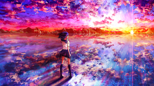 Anime Anime Girls Original Characters Landscape Sunset Sky Reflection Sun Rays Clouds Stars Shooting 1920x1080 Wallpaper