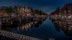 Amsterdam Bridge Building Canal House Netherlands Night Reflection 6144x4105 Wallpaper