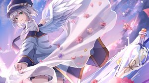 Anime Anime Girls Short Hair Wings Silver Hair Green Eyes Hat Shorts Artwork Crerp 2048x1446 Wallpaper