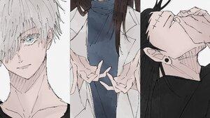 Satoru Gojo Suguru Geto Shoko Ieiri Brown Hair Black Hair White Hair Blue Eyes 2048x1280 Wallpaper