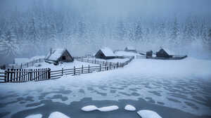 Winter Snow Forest Cabin Frozen Lake Pine Trees Cold 1500x1000 Wallpaper