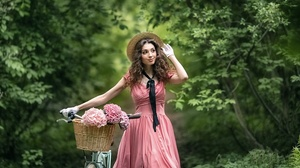 Women Dress Pink Dress Standing Bicycle Women With Bicycles Vehicle Hat Women With Hats Straw Hat Fl 2100x1400 Wallpaper