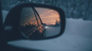 Photography Sunset Clouds Evening Trees Rearview Mirror Reflection Car Snow Winter Depth Of Field Pi 1920x1080 wallpaper