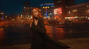 Street Depth Of Field Lights Urban City Road Women Women Outdoors Redhead Model Coats Night Russian  1600x900 Wallpaper