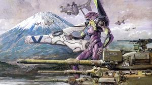 Tank Evangelion Anima Neon Genesis Evangelion EVA Unit 01 Mount Fuji 3600x2327 Wallpaper
